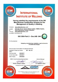 Certificate ISO3834-2